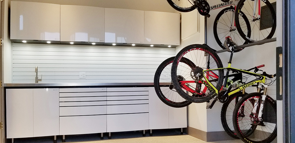 garage-chrome-sink-metal-cabinests-bicycles