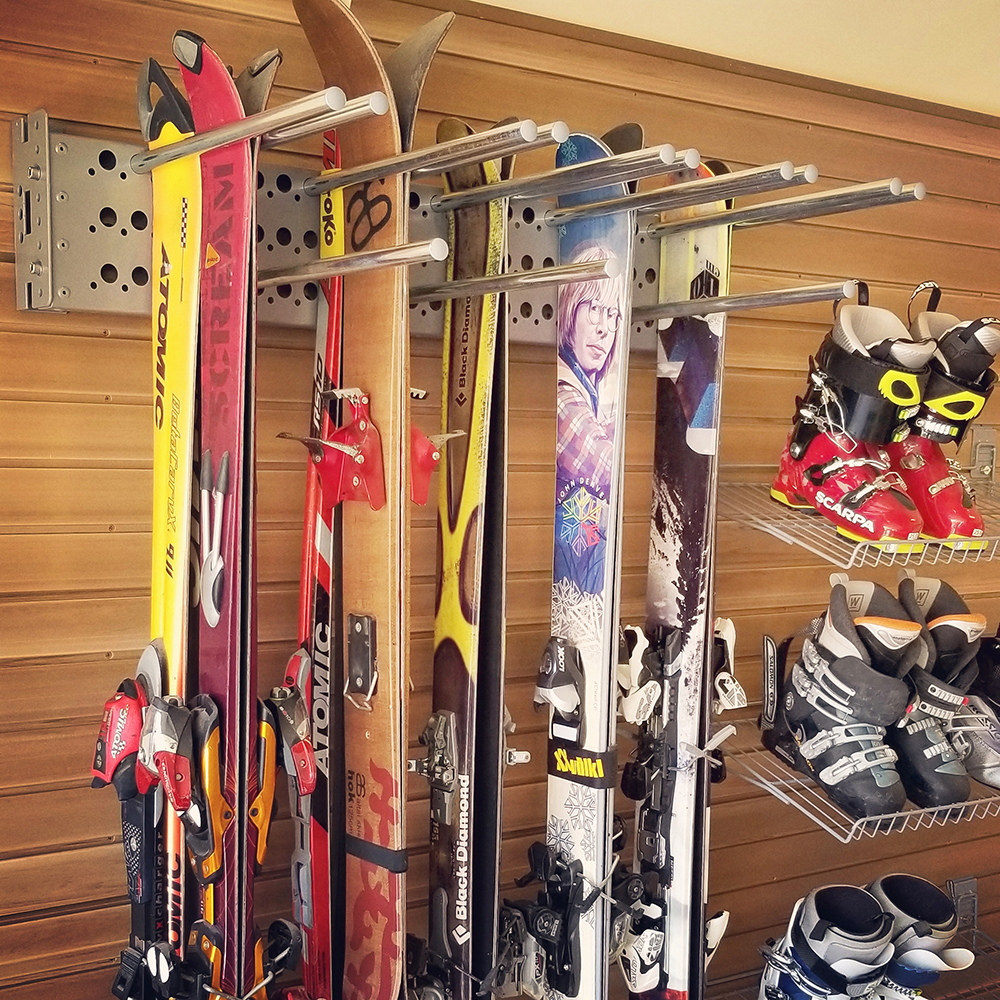 Utah-garage-wood-store-wall-for-snowboard-skis-Park City