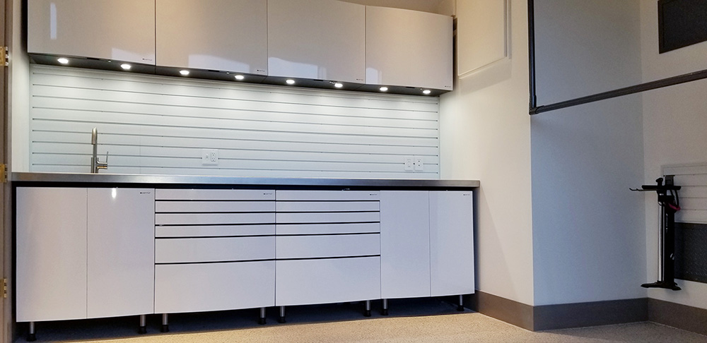 garage-chrome-sink-lighting-cabinests
